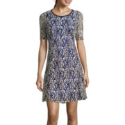 Tiana B. Elbow-Sleeve Lace Fit-and-Flare Dress