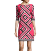 Studio 1® 3/4 Sleeve Geometric Shift Dress