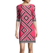 Studio 1® 3/4 Sleeve Geometric Shift Dress