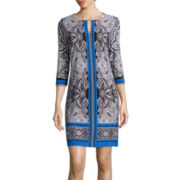 Studio 1® 3/4 Sleeve Paisley Shift Dress