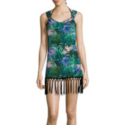 Sister Tropical Soul Fringe Ring Tank Dress Swim Coverup - Juniors