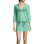 Porto Cruz® Crochet V-Neck Tunic Swim Coverup