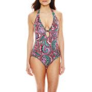 Liz Claiborne® Let's Get Paisley Plunge Maillot 1-Pc Swimsuit