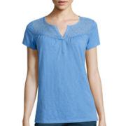 St. John's Bay® Short-Sleeve Lace-Yoke T-Shirt