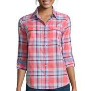 St. John's Bay® Long-Sleeve Camp Shirt - Tall