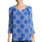 St. John's Bay® Long-Sleeve Tie-Front Blouse