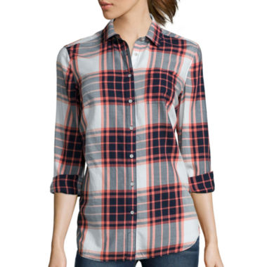 jcpenney.com | Stylus™ Long-Sleeve Back-Pleat Oversized Shirt- Petites