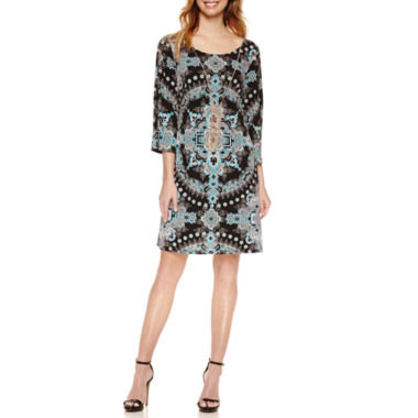 jcpenney.com | Luxology Split Sleeve Print Dress With Necklace