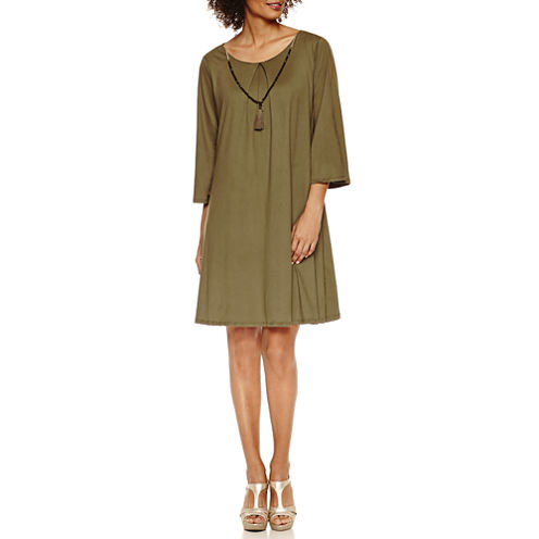 Luxology Pleat From Cold Shoulder Shift Dress With Necklace