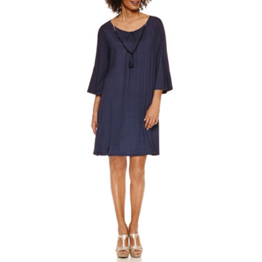 jcpenney.com | Luxology Long Sleeve Pleat From Cold Shoulder Shift Dress With Necklace