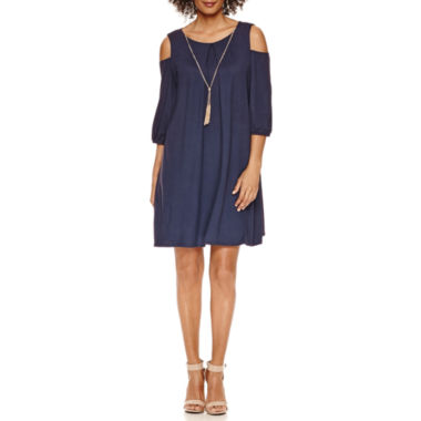 jcpenney.com | Luxology Cold Shoulder Shift Dress With Necklace