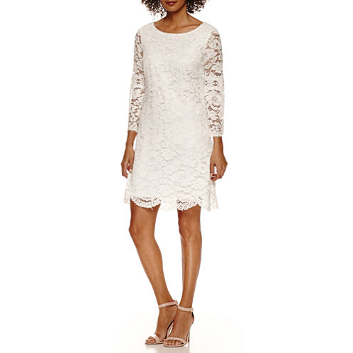 Luxology Long Sleeve Lace Shift With Bell Shift Dress