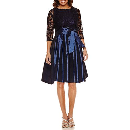 Melrose 3/4 Sleeve Sequin Lace Taffeta Skrt Jacket Dress-Petites