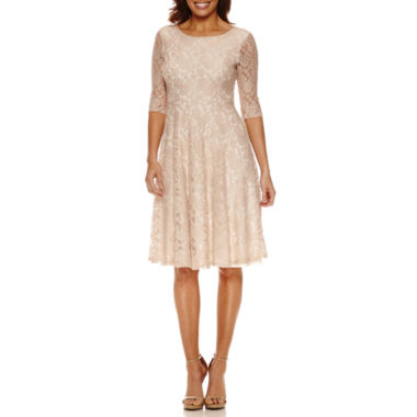 jcpenney.com | Melrose 3/4 Sleeve Lace Fit & Flare Dress-Petites