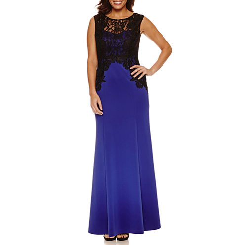 Melrose Sleeveless Fitted Lace Trim Gown-Petites