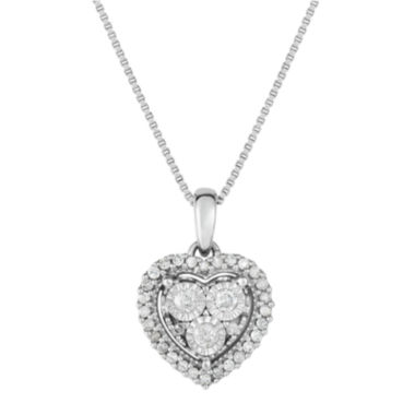 jcpenney.com | True Miracle Womens 1/4 CT. T.W. White Diamond Sterling Silver Pendant Necklace