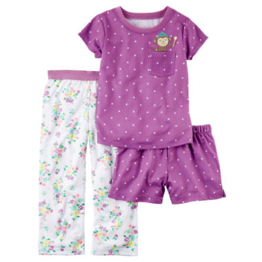 jcpenney.com | Carter'S Girls 3-Pc. Short Sleeve Poly Sleep Purple Pink Floral Short Set