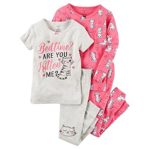 Carter'S Girls 4-Pc. Cotton Sleep Pink Kitten Pant Set-Toddler