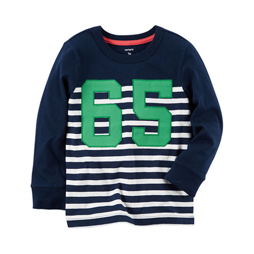 Carter's Toddler Boys Long Sleeve Blue Stripe T-Shirt