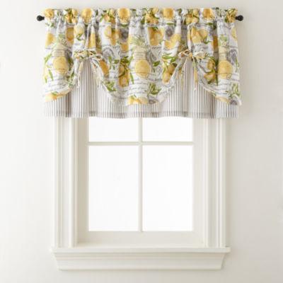 tie up window valance home expressions lemon zest rodpocket tie up valance jcpenney
