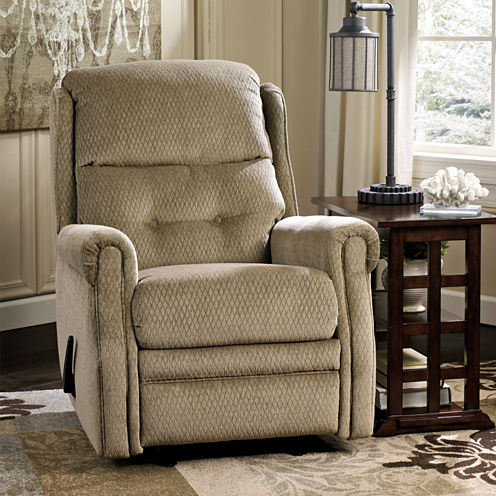 Signature Design by Ashley® Meadowbark Fabric Pad-Arm Glider Recliner
