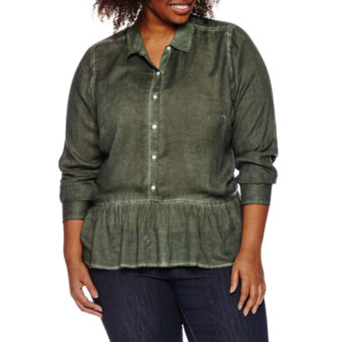 jcpenney.com | a.n.a 3/4 Sleeve Rayon Blouse-Plus