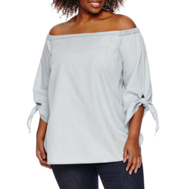 jcpenney.com | a.n.a 3/4 Sleeve Blouse-Plus