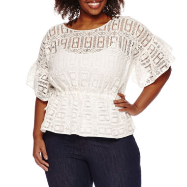 jcpenney.com | a.n.a 3/4 Sleeve Lace Blouse-Plus