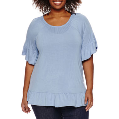 jcpenney.com | a.n.a Short Sleeve Viscose Blouse-Plus