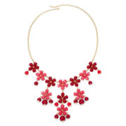 Gold-Tone Pink Flower Bauble Necklace