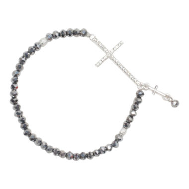 jcpenney.com | Mixit™ Silver-Tone Bead Cross Stretch Bracelet