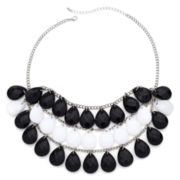 Mixit™ Silver-Tone Black and White Teardrop Bib Necklace