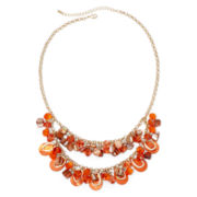 Mixit™ Gold-Tone Orange Shell and Bead Cluster Bib Necklace
