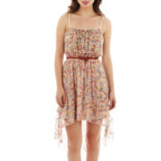 Love Reigns Belted Floral Print High-Low Lace Dress