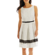 Danny & Nicole® Polka Dot Belted Fit-and-Flare Dress