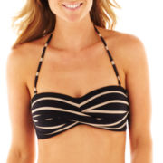 Liz Claiborne Striped Twist Bandeau Swim Top