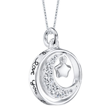 "jcpenney.com | Sterling Silver Dancing Cubic Zirconia ""I Love You to the Moon and Back"" Pendant"