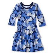 Joe Fresh™ Heart-Print Peplum Dress - Girls 1t-5t
