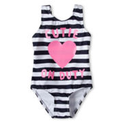 Joe Fresh™ Striped One-Piece Swimsuit - Girls 1t-5t
