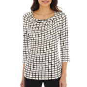 Worthington® 3/4-Sleeve Drape-Neck Twist Top - Petite