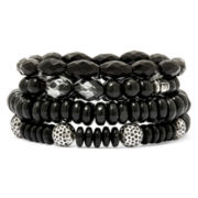 Mixit™ Black and Silver-Tone Bead 4-pc. Stretch Bracelet Set