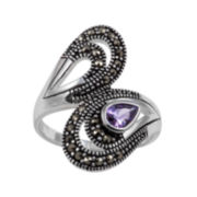 Purple Cubic Zirconia and Marcasite Pure Silver-Plated Bypass Ring