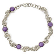 Liz Claiborne® Purple Stone and Crystal Silver-Tone Flex Bracelet