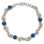 Liz Claiborne® Blue Stone and Crystal Silver-Tone Flex Bracelet