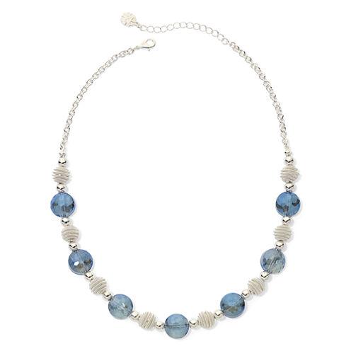 Monet® Blue Stone Silver-Tone Collar Necklace