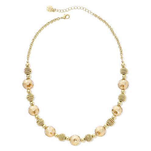 Monet® Yellow Stone Gold-Tone Collar Necklace
