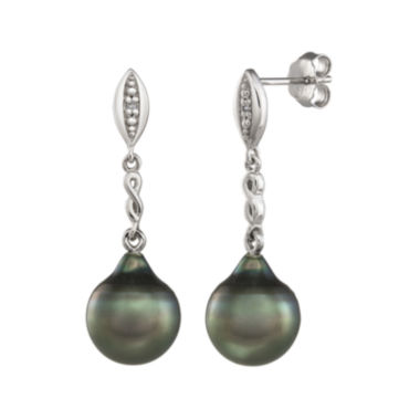 jcpenney.com | Genuine Tahitian Pearl and Diamond-Accent Sterling Silver Drop Earrings