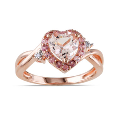 jcpenney.com | Genuine Morganite, Pink Tourmaline and Diamond-Accent Heart-Shaped Ring