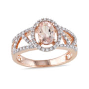 Genuine Morganite and Diamond 10K Rose Gold Halo Ring