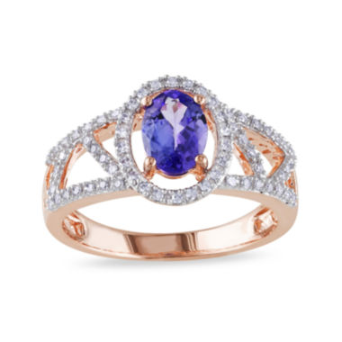 jcpenney.com | Genuine Tanzanite and Diamond 10K Rose Gold Open-Design Halo Ring